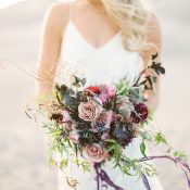 Natural and Organic Purple Bridal Bouquet