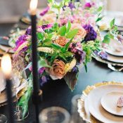 Modern Black, Purple, and Gold Wedding Decor