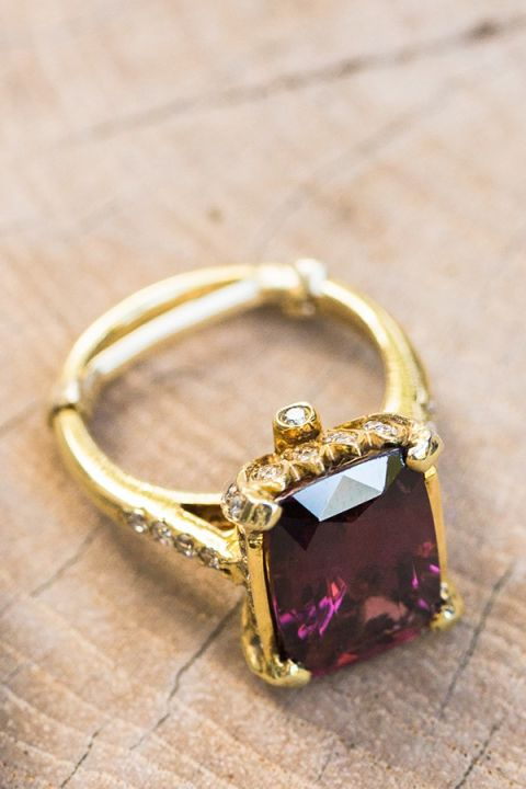 Modern Gold and Amethyst Engagement Ring