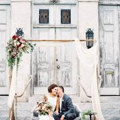 Draped Ceremony with Vintage Decor