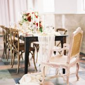 Romantic Vintage Head Table with a Silk Runner