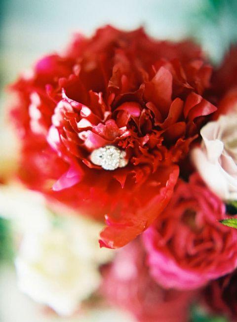 Three Stone Engagement Ring with Crimson Charm Peonies