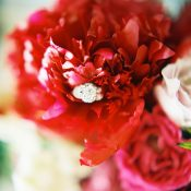 Three Stone Engagement Ring with Crimson Charm Peonies