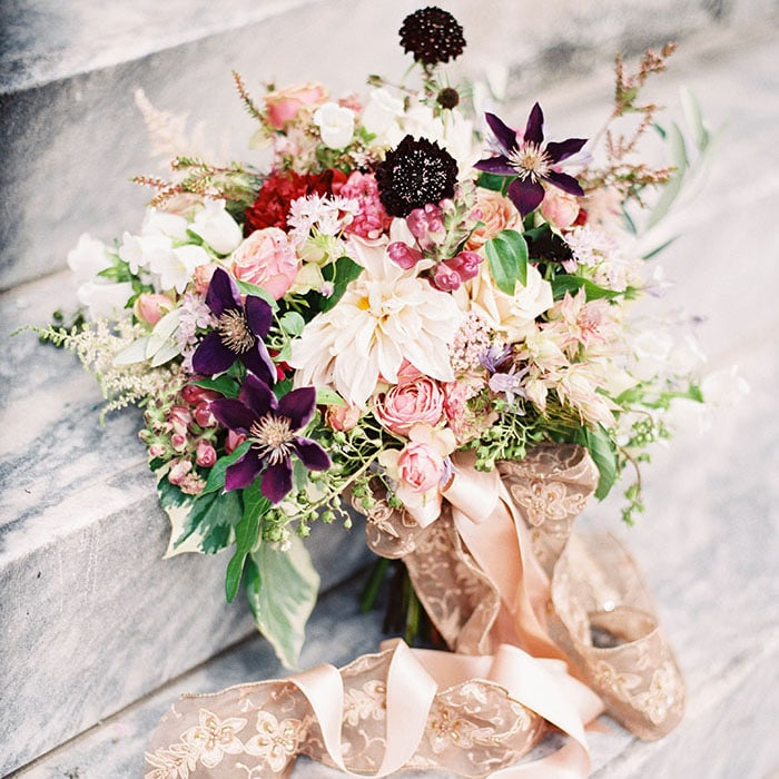 ... Botanical Opulence Wedding In Red And Plum