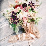 Luxurious Peach and Plum Bridal Bouquet