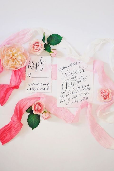Calligraphy Invitations with Pink Ombre Ribbons