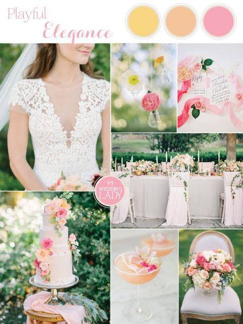 Playful Elegance in Pastel Peach and Pink
