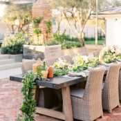 Rustic Industrial Farm Table with a Greenery Garland