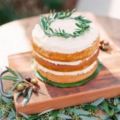 Naked Cake Topped with an Olive Wreath
