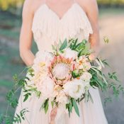 Ruffled Halter Wedding Dress with an Epic Protea Bouquet