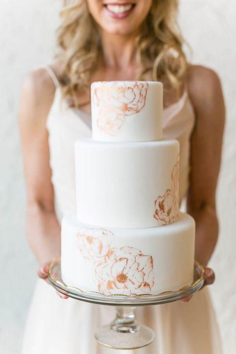 Modern Metallic Floral Print Wedding Cake