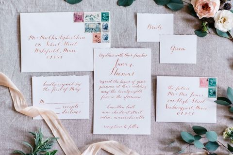 Lilac and Gray Calligraphy Wedding Invitation | Alisha Maria Photography | https://heyweddinglady.com/modern-indoor-garden-wedding-elegant-ballroom/