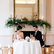Ballroom Sweetheart Table with Romantic Greenery and Candle Mantel Decor