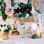 Vintage Gold Centerpiece with Modern Metallic Table Numbers