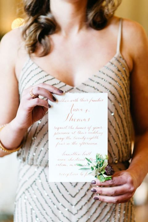 Nude Beaded Bridesmaid Dress with a Rose Gold Calligraphy Invitation