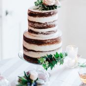 Romantic Spring Naked Wedding Cake