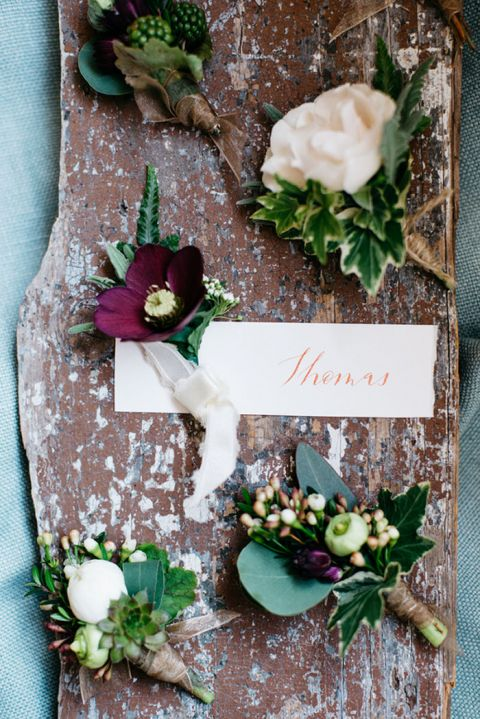 Botanical Ivy Boutonnieres in Plum and Ivory