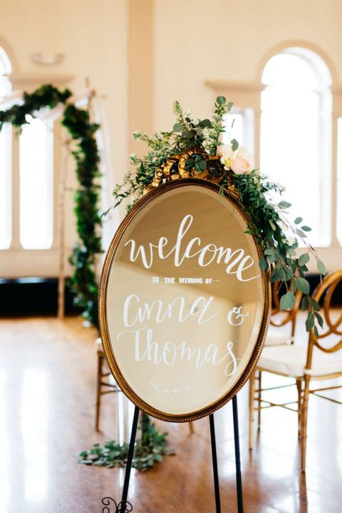 Vintage Mirror for a Calligraphy Wedding Sign Welcoming Guests