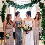 Draped Garland Ceremony Site and Bridesmaids in Vintage Beaded Dresses