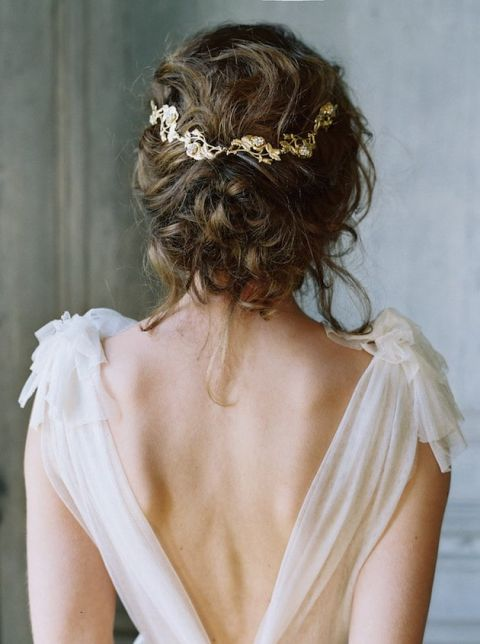 Ethereal Chiffon Wedding Dress with an Open Back and an Elegant Bridal Updo