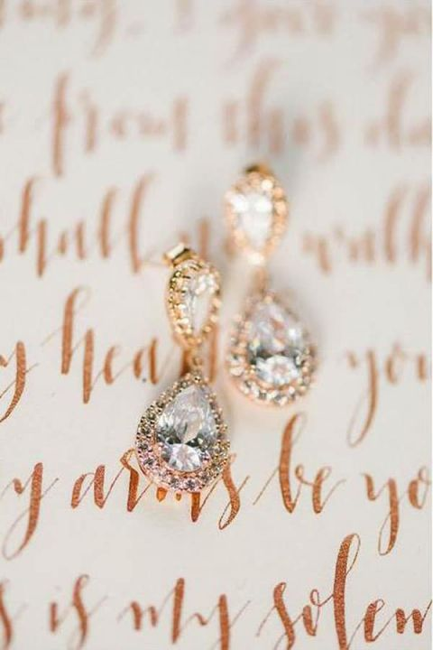 Glamorous Diamond Halo Bridal Earrings and Rose Gold Calligraphy Vows