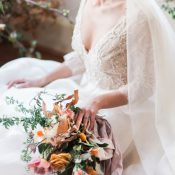 Romantic Vintage Bride with a Sparkling Ball Gown and an Organic Bouquet