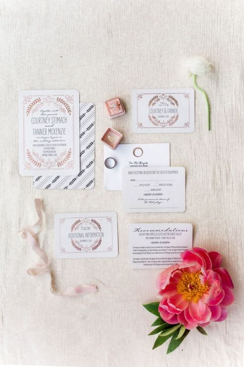 Coral and Rose Gold Wedding Invitations