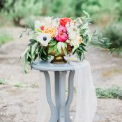 Stunning Summer Centerpiece with Coral Peonies and Black and White Anemones