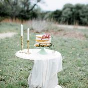 Romantic Vintage Wedding Cake Display with a Naked Cake