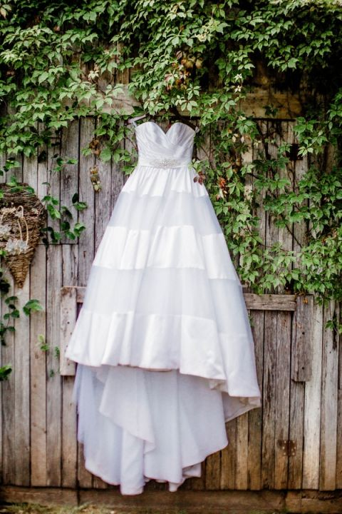 Preppy Organza and Satin Striped Wedding Dress