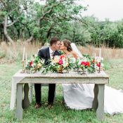 Bride and Groom at a Rustic Vintage Sweetheart Table