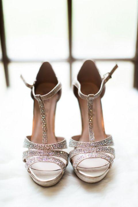 Sparkling Silver Bridal Shoes