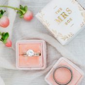 Diamond Band Engagement Ring in a Blush Velvet Box