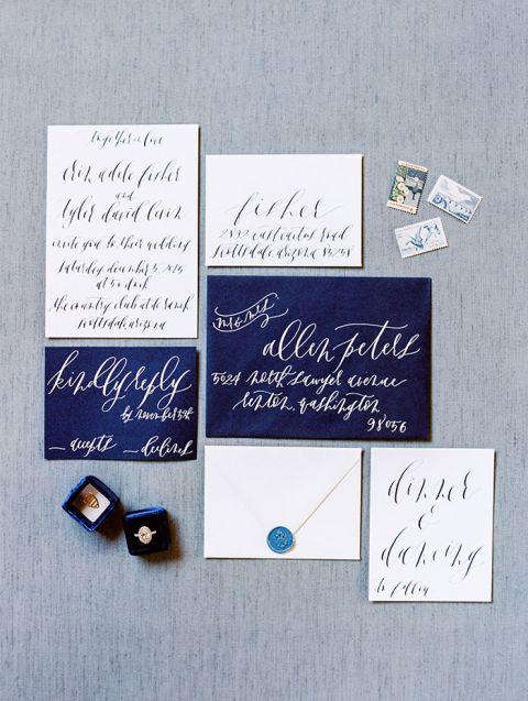 Bold Blue and White Calligraphy Wedding Invitation