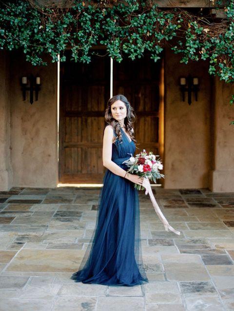 Something Blue Wedding Dress 35 Fancy Elegant Navy Floor Length