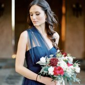 Gorgeous Bridesmaid in Navy and Crimson