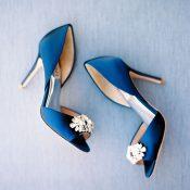 Navy and Crystal Badgley Mischka Wedding Shoes