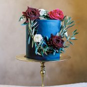 Single Layer Navy Blue Wedding Cake with a Floral Wreath