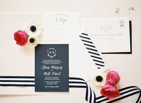 Chic Black and White Invitations with Striped Details