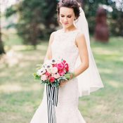 Stylish and Playful Bride with a Fingertip Veil