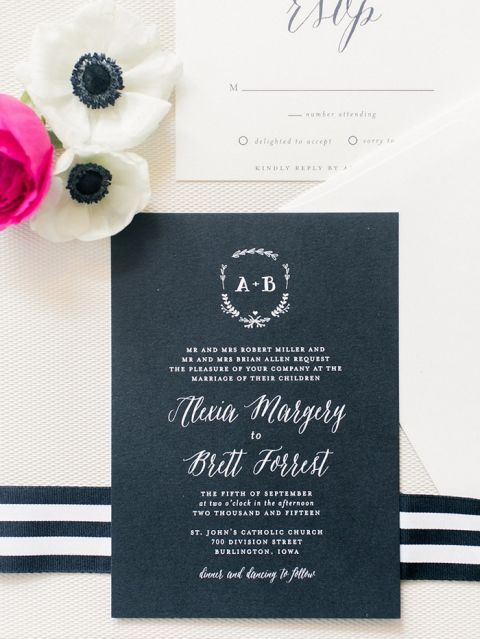 White Ink Calligraphy Wedding Invitation. Sparkly Kate Spade Wedding Clutch