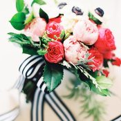 Blush and Pink Bouquet with Black and White Striped Ribbons