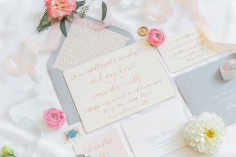pastel and gold glitter wedding invitation