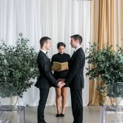 Elegant Gold Draped Ceremony with Eucalyptus Aisle Decor