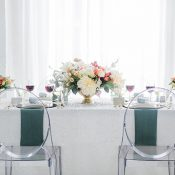 Glamorous Modern Head Table with White Sequins and Ghost Chairs
