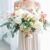 Champagne Bridesmaid Dress with a Centerpiece in Peach and Coral