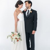 Stylish Modern Black Tie Bride and Groom
