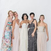 Mismatched Bridesmaid Dresses in Gray and Blush with Floral Print