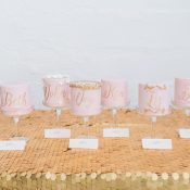 Individual Blush and Gold Wedding Cakes as Escort Cards