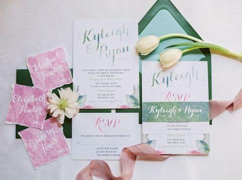 Lilac and Sage Green Watercolor Wedding Invitations